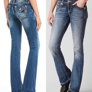 Miss Me Bootcut Jeans Embellished Low Rise 27